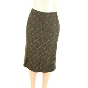 LOFT Womens Skirt Brown Wool Squared Plaid